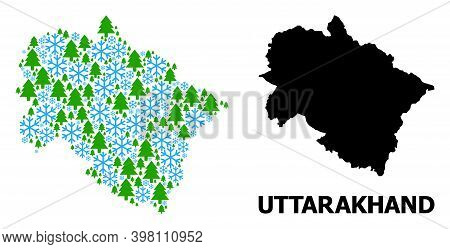 Vector Mosaic Map Of Uttarakhand State Combined For New Year, Christmas, And Winter. Mosaic Map Of U