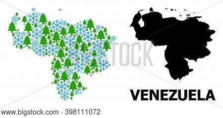 Vector Mosaic Map Of Venezuela Constructed For New Year, Christmas, And Winter. Mosaic Map Of Venezu