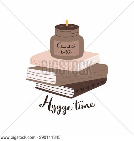Flat Vector Cartoon Illustration Of A Stack Of Books And A Burning Scented Candle. Hygge Time. The C