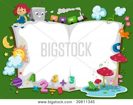 Background Illustration of a Storybook with Characters