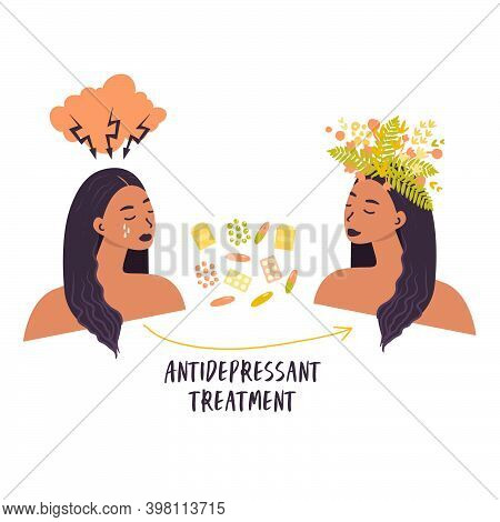 Flat Vector Illustration Of A Woman's Transformation After Treatment With Antidepressants. Pills, Me