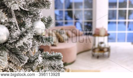 Christmas Tree. The Room Is Decorated For Christmas. Christmas Decorated Room.with Space For Text On