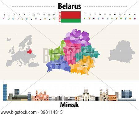 Belarus Administrative Divisions Map. Flag Of Belarus. Minsk Cityscape. Vector Illustration