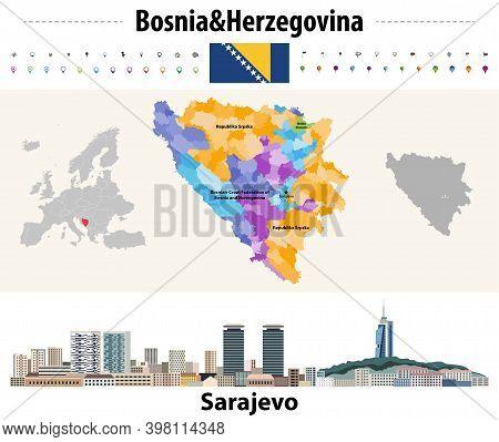 Vector Map Of Bosnia And Herzegovina Municipalities. Sarajevo Cityscape. Flag Of Bosnia And Herzegov