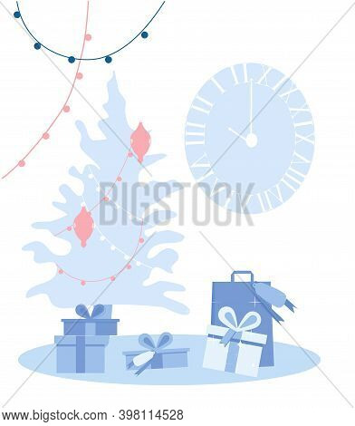Christmas Tree With Garland,clock And Gift Boxes In Blue Color Flat Style.postcard With Winter Holid