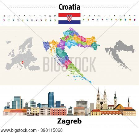 Croatia Colored Map Consiting Of Counties And  Municipalities. Flag Of Croatia. Zagreb Cityscape. Ve