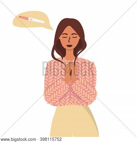Flat Vector Cartoon Illustration Of A Woman In Anticipation Of A Positive Pregnancy Test Result In T