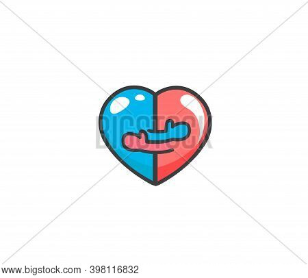 Two Halves Of A Heart That Are Hugging. Warm Hugs Of Man And Woman As Symbol Of Family. Close Embrac