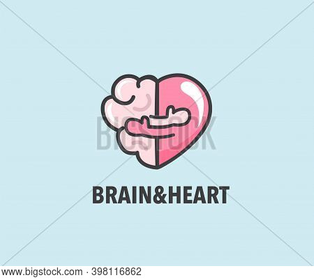Halves Of Heart And Brain That Are Hugging. Warm Hugs Of Rational And Emotion As Symbol Of Health. C