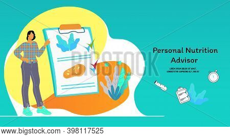 Personal Nutrition Advisor Website Template With Dietician Vector Illustration.