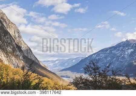 Picturesque Mountain Landscape. Alps In Triglav National Park In Slovenia In Autumn.