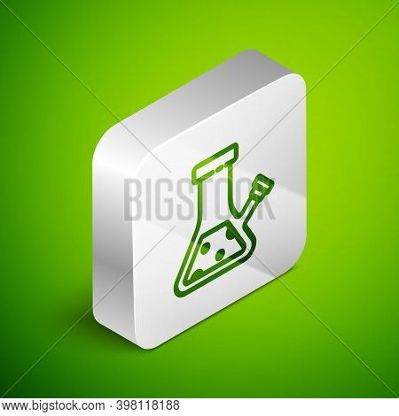 Isometric Line Glass Bong For Smoking Marijuana Or Cannabis Icon Isolated On Green Background. Silve