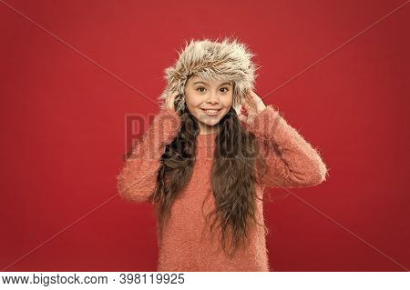 Keep Head In Warmth. Feeling Warm. Child Long Hair Soft Hat. Winter Fashion Concept. Warm Hat For Co