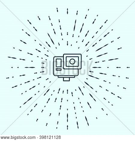 Black Line Action Extreme Camera Icon Isolated On Grey Background. Video Camera Equipment For Filmin