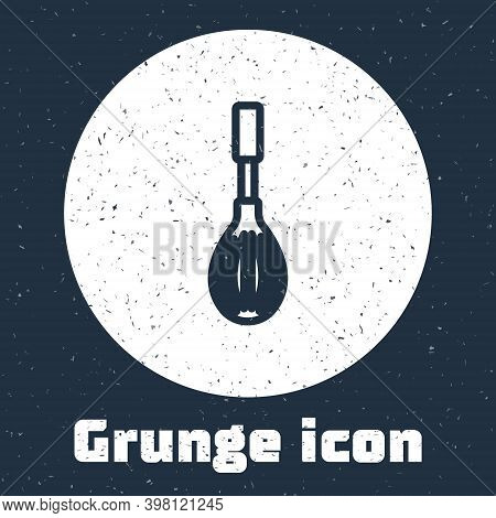 Grunge Line Kitchen Whisk Icon Isolated On Grey Background. Cooking Utensil, Egg Beater. Cutlery Sig