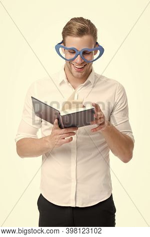 Reading Is Fun. Happy Man Read Book Isolated On White. Funny Guy Enjoy Reading In Fancy Glasses. Bib