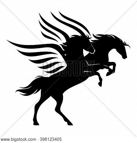 Pair Of Mythical Pegasus Horses - Winged Stallions Rushing Forward Black And White Vector Design