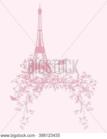 Eiffel Tower And Blooming Sakura Tree Branches With Flying Swallow Birds - Spring Season Paris Vecto