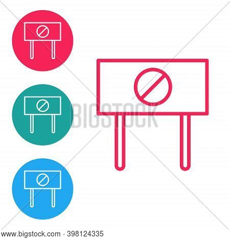 Red Line Protest Icon Isolated On White Background. Meeting, Protester, Picket, Speech, Banner, Prot