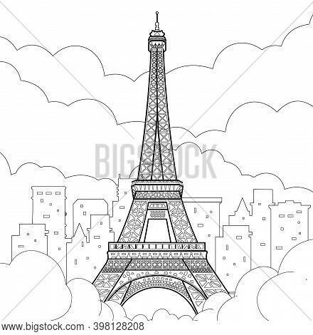 Eiffel Tower In Paris. Linear Hand Drawing. Vector Line Illustration.
