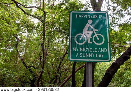 Signpost For Using Bicycle Which Is Environmentally Friendly Mode Of Transportation. Encouragement F