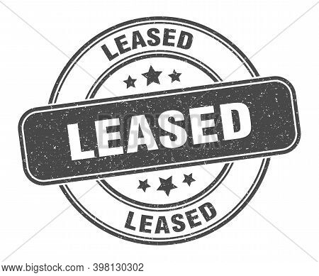 Leased Stamp. Leased Label. Round Grunge Sign