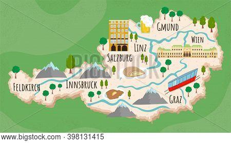 Cartoon Map Of Austria. Travel Illustration With Austrian Landmarks, Buildings, Food And Plants. Fun