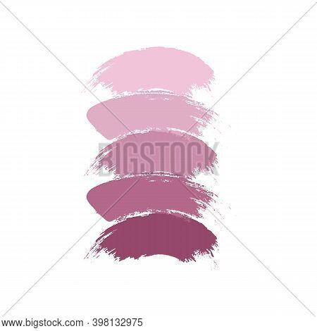 Vector Makeup Strokes, Nude Lipstick Or Blush Swatches. Vector Lipstick Smear Collection