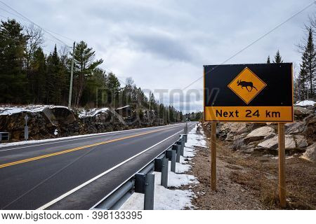 A Large Moose Crossing Sign With An Icon Of A Moose Warns Of The Hazard Of The Wild Animals Crossing