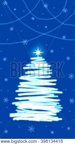 Abstract Glowing Christmas Tree On A Blue Background. Tree. Christmas. Winter. December. New Year. D