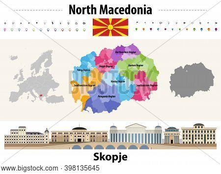 North Macedonia Administrative Divisions Map. Flag Of North Macedonia. Skopje Cityscape. Vector Illu