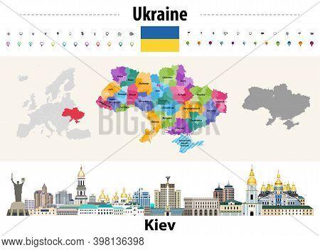 Ukraine Regions (oblasts) With Administrative Divisions (raions) Map. Flag Of Ukraine. Kiev Cityscap