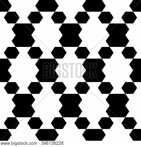 Seamless Vector. Hexagons, Figures Background. Folk Ornament. Polygons Pattern. Ethnic Motif. Simple