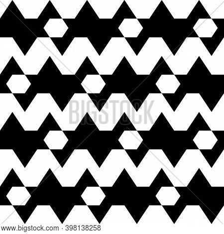 Polygons, Jagged Stripes Pattern. Seamless Vector. Hexagons, Zigzag Lines Background. Folk Ornament.