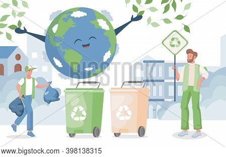 Smiling Boy Putting Garbage In Containers, Man Hold Placards With Recycle Sign. Happy Planet Earth.