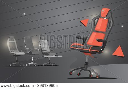 Gaming Chair Vector Flat Banner Design. Red And Grey Office Chairs Work Chairs Or Gaming Chairs With