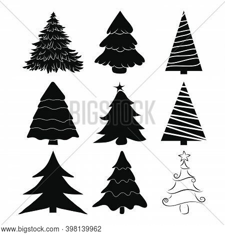 Christmas Tree Silhouettes Set. Black Pines Icon For Xmas Card Or Invitation. Symbol Of December. Co