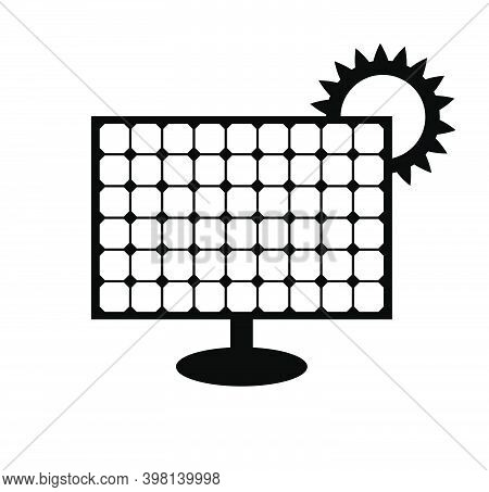Solar Panel Icon Isolated On White Background. Vector Symbol Of Alternative Energy Source. Black Pic