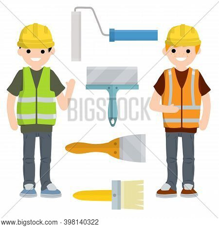 Working Painter With Paint Brush. Man In A Yellow And Green Construction Vest