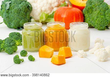 Baby Food. Variation Of The Three Homemade Vegetable Puree In Jar. Pumpkin Puree, Cauliflower Puree
