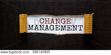 Change Management Symbol. Words 'change Management' Appearing Behind Torn Black Paper. Beautiful Bac