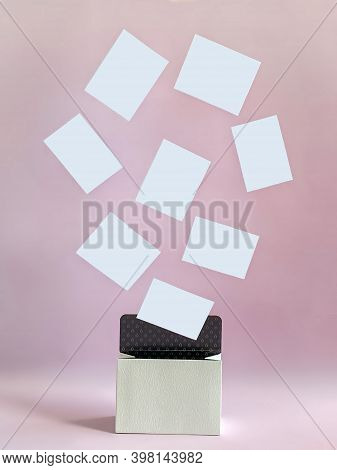 Pink Background With White Small Box From Which Flew Out White Lines That Can Be Used As Templates,