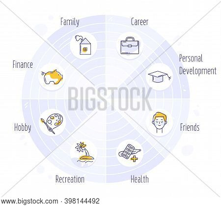 The Wheel Of Life. Coaching Tool In Colorful Diagram. Life Balance Concept. Human Needs Icons.