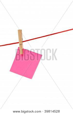 Pink Sticky Hanged On Red Rope