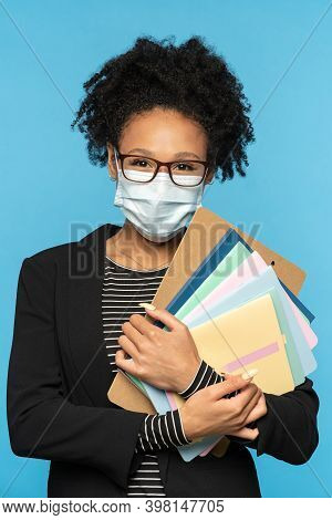 Teacher Or Student In Blazer, Wear Glasses And Face Mask, Holding Notebooks, Documents And Folder, L
