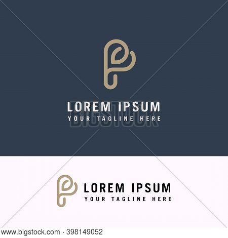 Initial Letter P Design With Heart Shapes. P Letter Minimal Luxury Monogram.