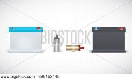 Icons Of Car Battery And Ignition Coil Isolated On White Background. Set Of Realistic Car Parts. Vec