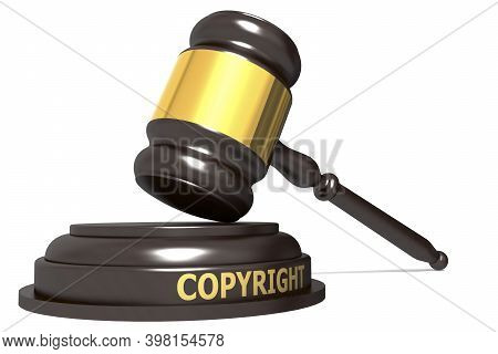 Wooden Judge Gavel With Copyright Word, 3d Rendering