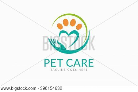 Pet Care Logo Design. Paw And Hand Care Symbol Design Usable For Pet Community, Foundation, Medical