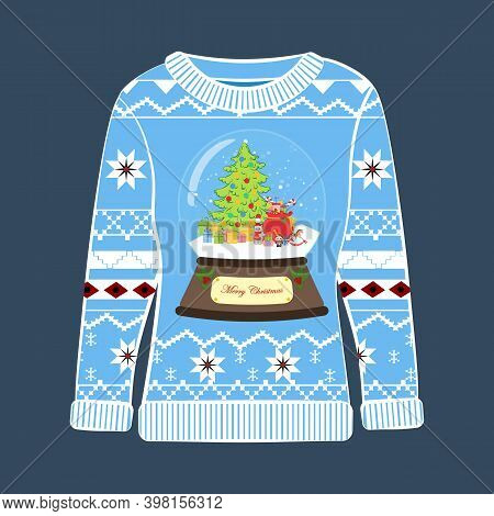 Christmas Party Ugly Sweater With Snowglobe Vector Illustration